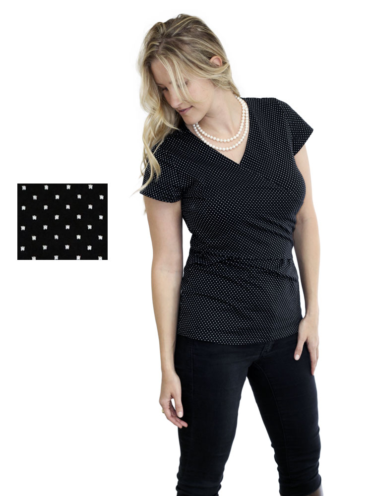 Anna Teal nusring top in Black with dots.