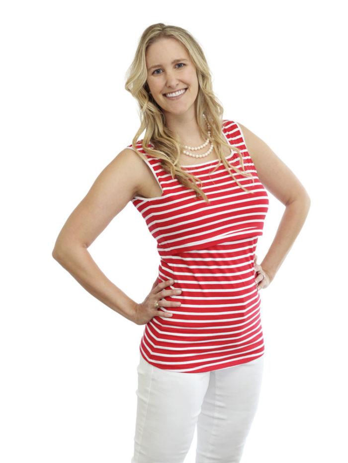 Bree Nursing Tank in red/white