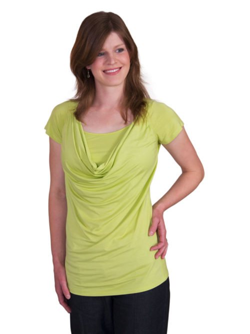 Carmen Cowl Neck Breastfeeding Top in Lime
