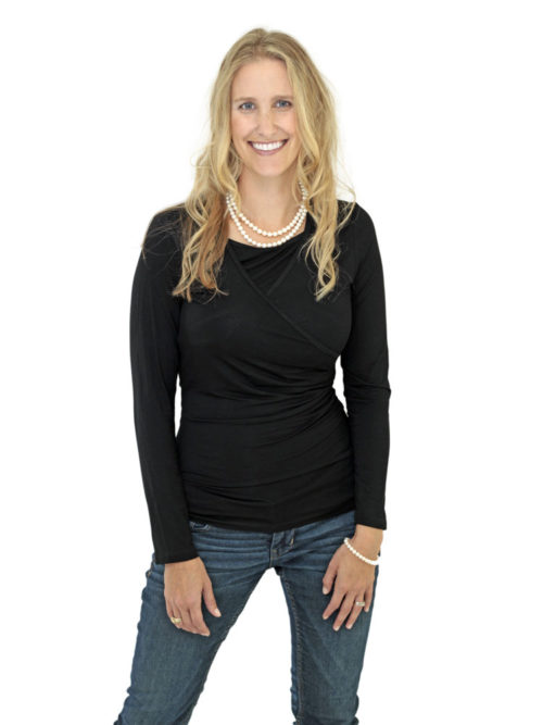 Charlene nursing top in black.