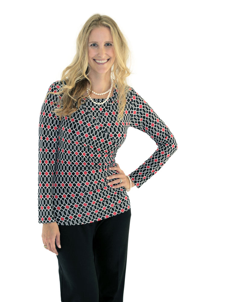 Charlene Faux Wrap Top in red/black