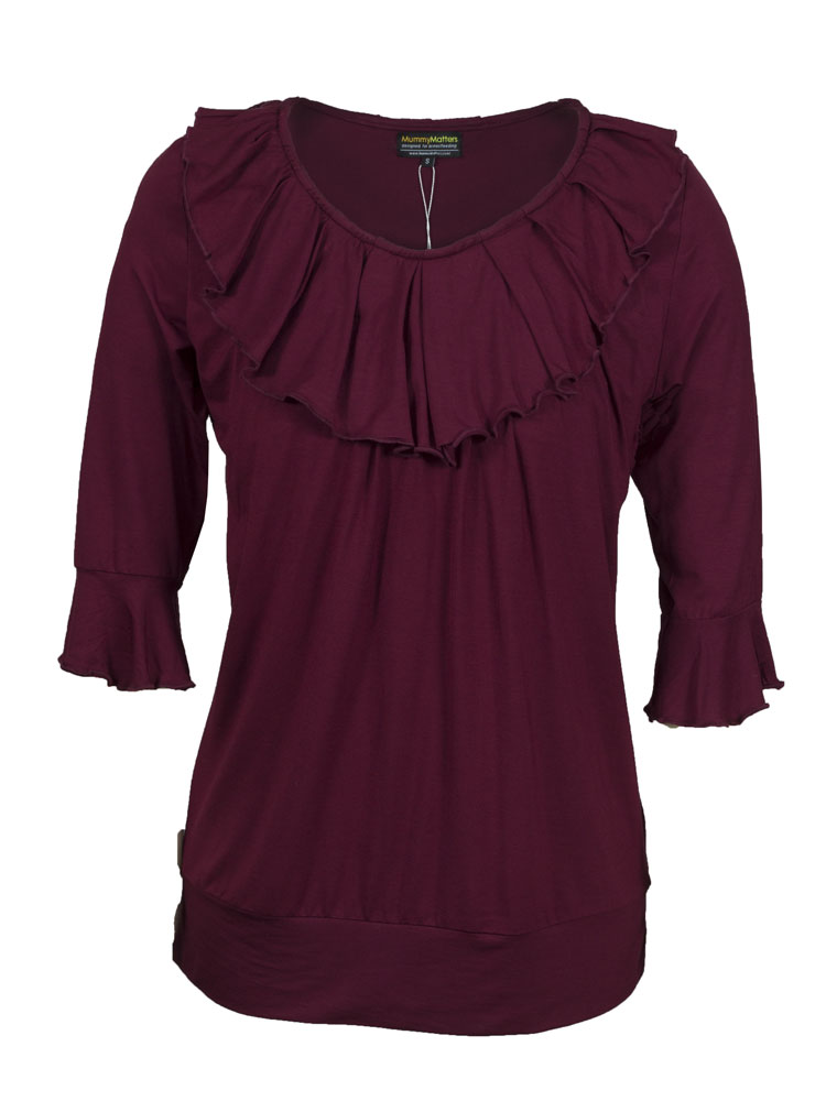 Penelope Nursing Top in maroon.